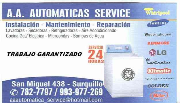 AUTOMATICA SERVICE  AL INSTANTE  LAVADORAS--REFRIGERADORAS  && REPARACIONES ....MANTENIM