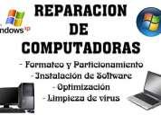 Formateo, instalación y limpieza de virus de laptops, usb, computadoras