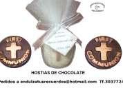 recuerdos primera comunión,  originales ostias de chocolate