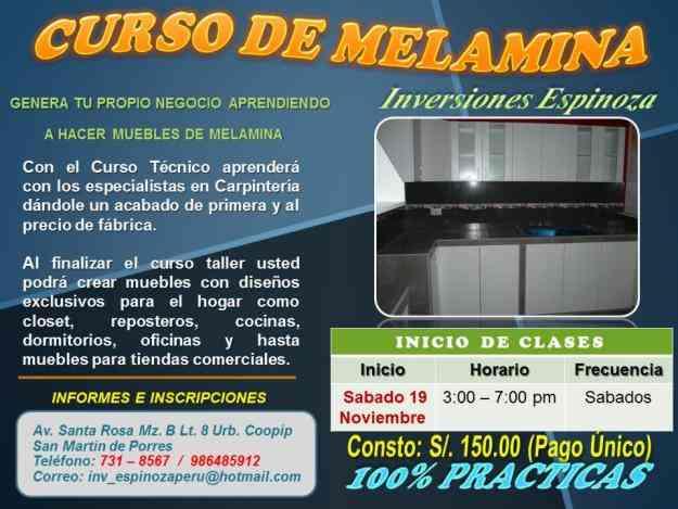 Curso de melamina cajaruro otros cursos for Melamina cursos gratis