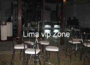 Servicio de barman, asistente barman ,barra, sillas de bar ,mesas altas,