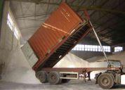 Camiones con plataformas con pistones para descarga contenedores de 20' con carga  granel