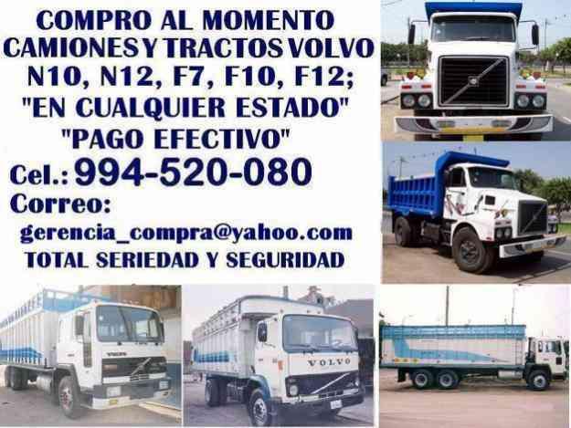 Volvo, camiones, volquetes, tractos, compro de inmediato. S/. 0.00