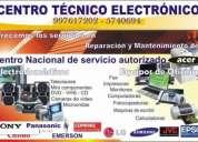 Servicio tecnico especializado televisores, dvd, blueray, equipos de sonido, pcs, +