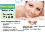 S/.50 soles por limpieza facial o 2 sesiones por s/.90 soles
