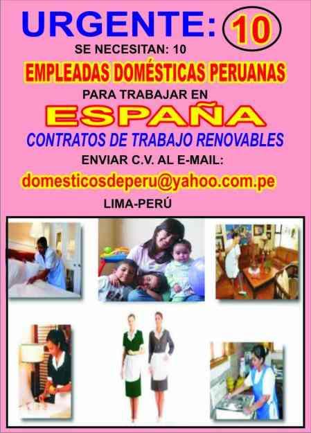 Espa a trabajo para empledas dom sticas peruanas en for Contrato para empleada domestica
