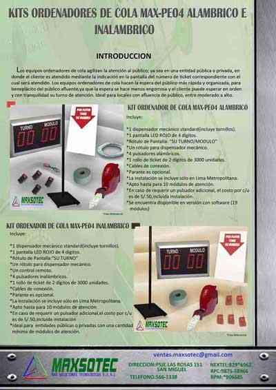 MAXSOTEC E.I.R.L-Kits Ordenadores de Cola de 2,3 y 4 Dígitos