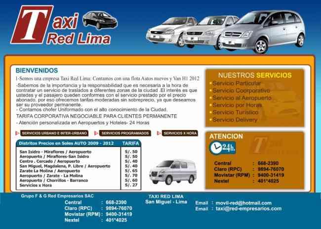 AUTOS,VAN , Taxi Red, Lima, Aeropuerto, excursiones Playas, Asia, Matrimonio.