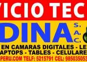 Servicio tecnico de camaras digitales. led, filmadoras, lcd, tablet en lima aperu