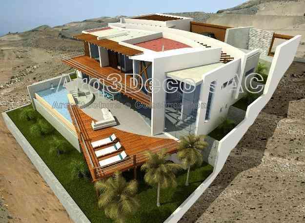 Dise os de casa de playa arquitecto estilo minimalista for Casa minimalista a desnivel