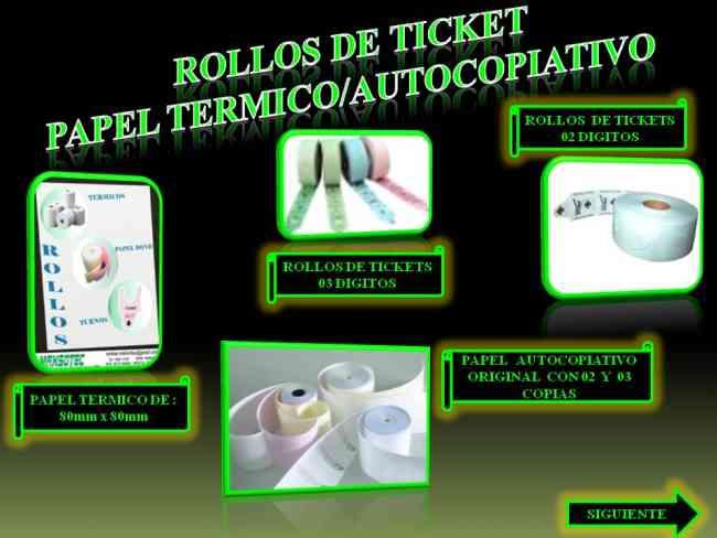 ROLLOS DE TICKETS/PAPEL TERMICO/PAPEL AUTOCOPIATIVO/MAXSOTEC/SOLICITELOS