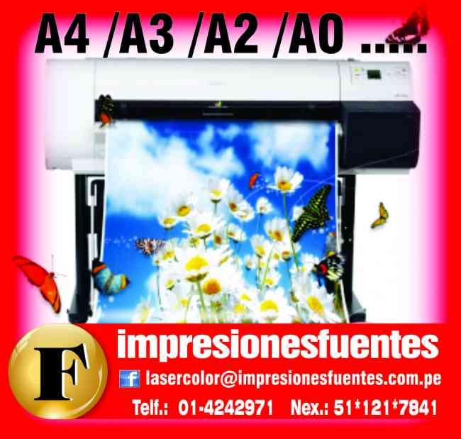Impresión  a Color en Perú: A4, A3, cartas de menú, fotochek, llaveros.