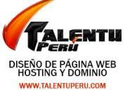 Pagina web + hosting y dominio