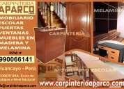 carpinteria en madera, puertas, ventanas, muebles, camas, mesas y sillas melamina huancayo