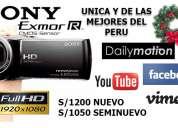 Videocamara sony cx290 full hd, lente angular panoramico, usb, hdmi