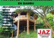 Proyectos y construcciones en bambu,  casas, cabaÑas, bungalows, mobiliario