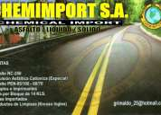 Venta en stock de emulsiones asfalticas de rompimiento lento, en chemimport s.a